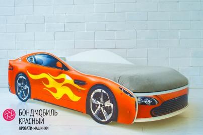 Детская кровать с подъёмным механизмом Бондмобиль красный (без чехла)