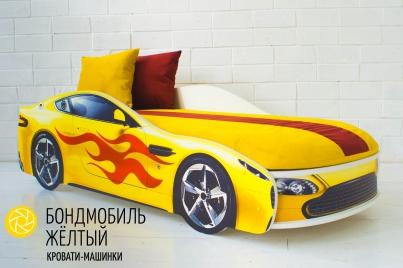 Детская кровать с подъёмным механизмом Бондмобиль жёлтый ( с чехлом )