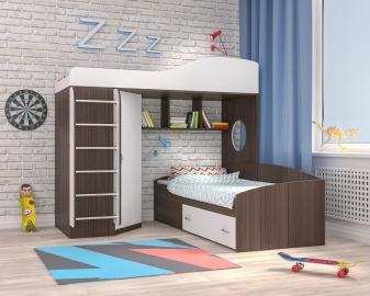 Кровать-чердак Кадет 2 с металлической лестницей