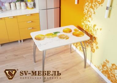 """Стол кухонный """"Апельсины"""" стеклянный"""