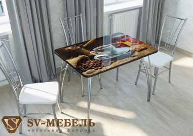"""Стол кухонный """"Кофе"""" стеклянный"""